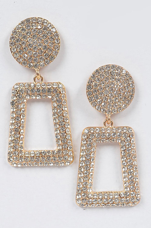 Rhinestone Back Drop Earring-Gold