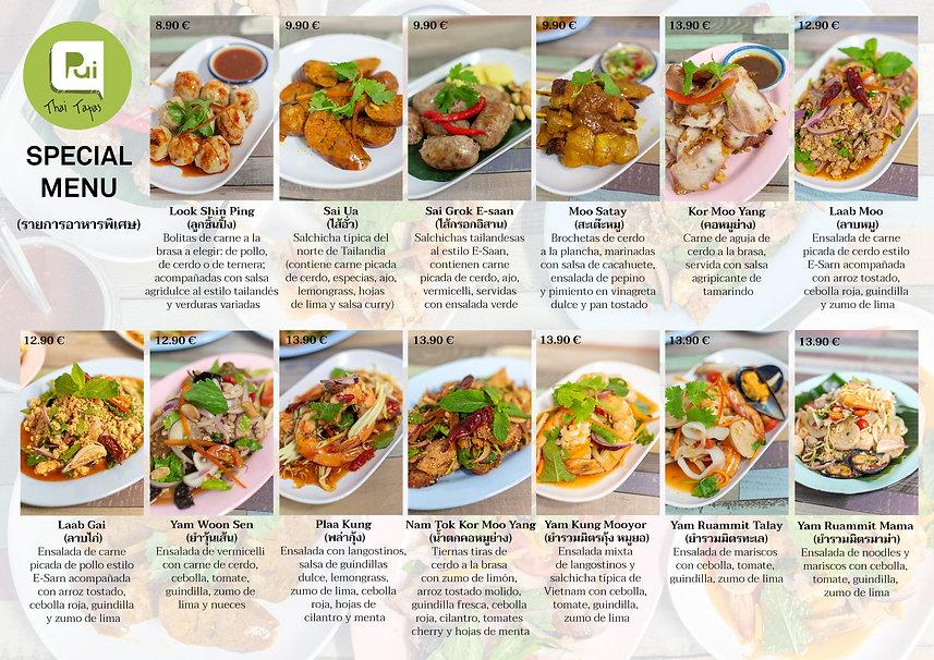 Menú especial de Pui's Thai Tapas
