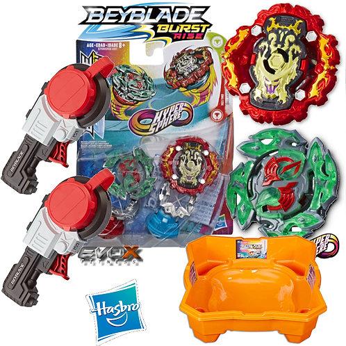 Combo Beyblade Burst Rise + 2 Mega Lançador Strike + Arena Beyblade Rise