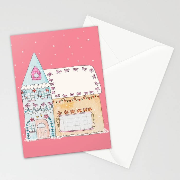Gingerbread House Blue Greeting Card
