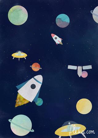 flekn raketten en planeten illustratie