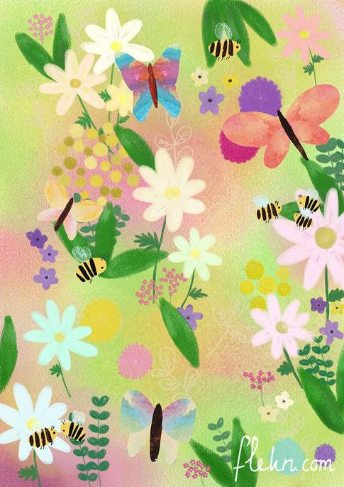 flekn tuin print bloemen bijen