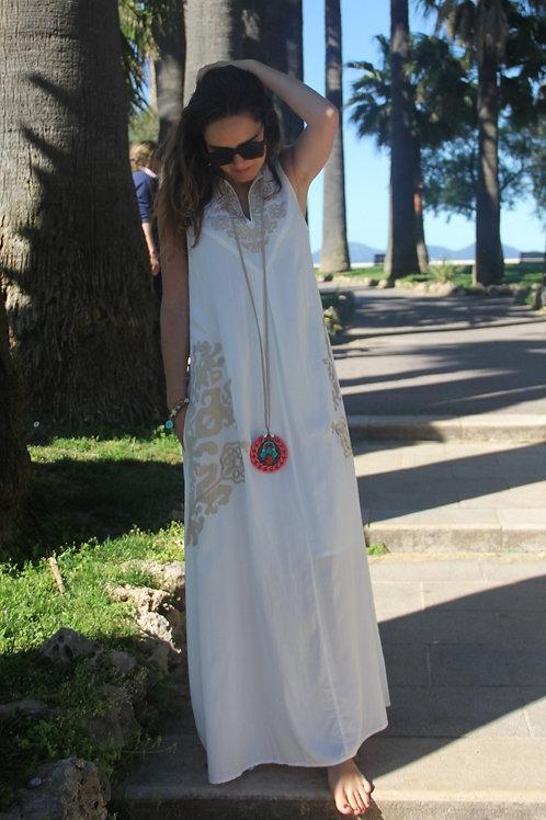 Robe longue WHITE AYA POLKA