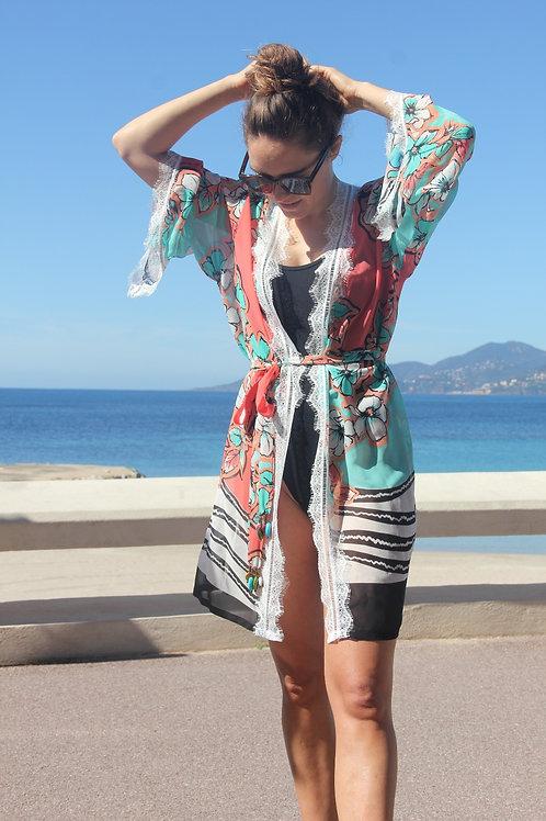 "Kimono ""FLOWER FLORIDA"" Sable Fin"