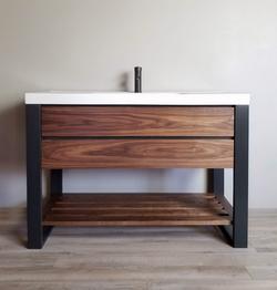 Custom Modern Steel and Walnut Vanity