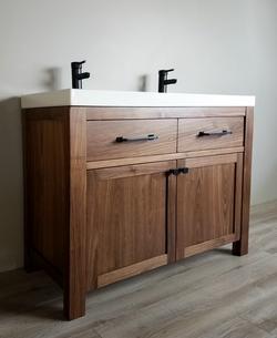 Solid walnut custom double vanity