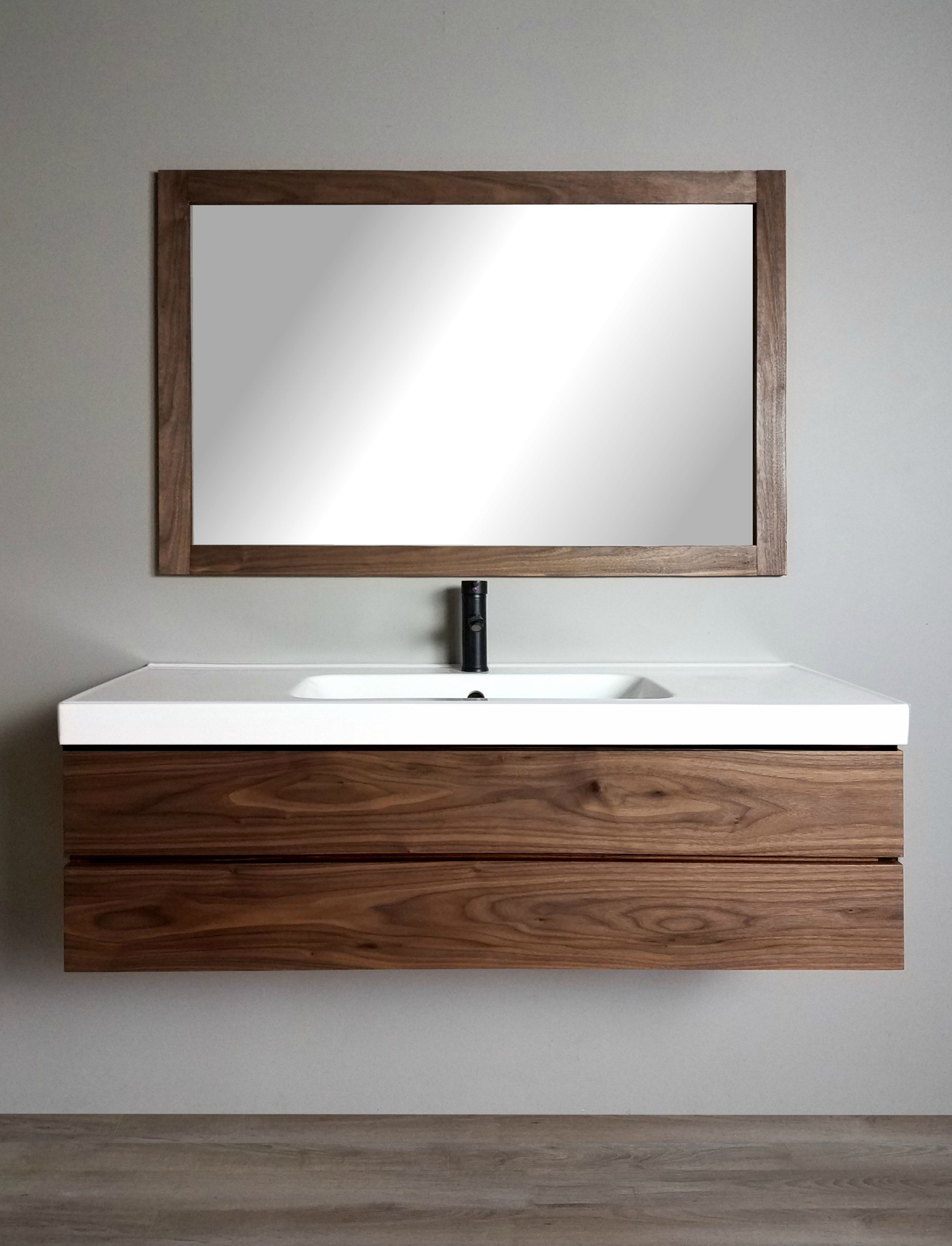 Solid walnut floating vanity