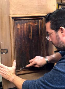 Restoring a black walnut door from an 1800's washstand