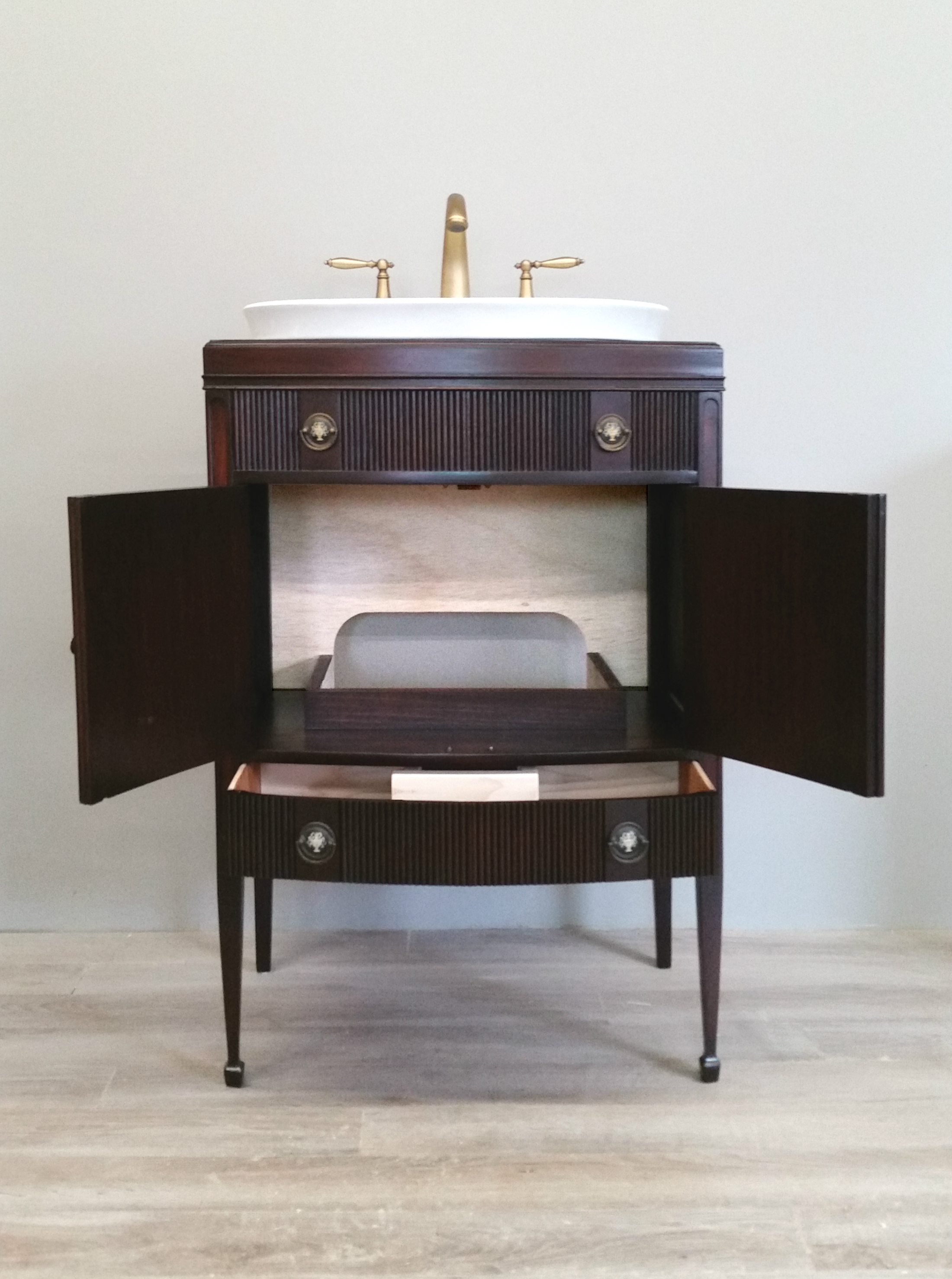 Record Player Repurposed to Vanity