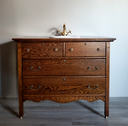 Antique Dresser Vanity with Brass Faucet and Hardware