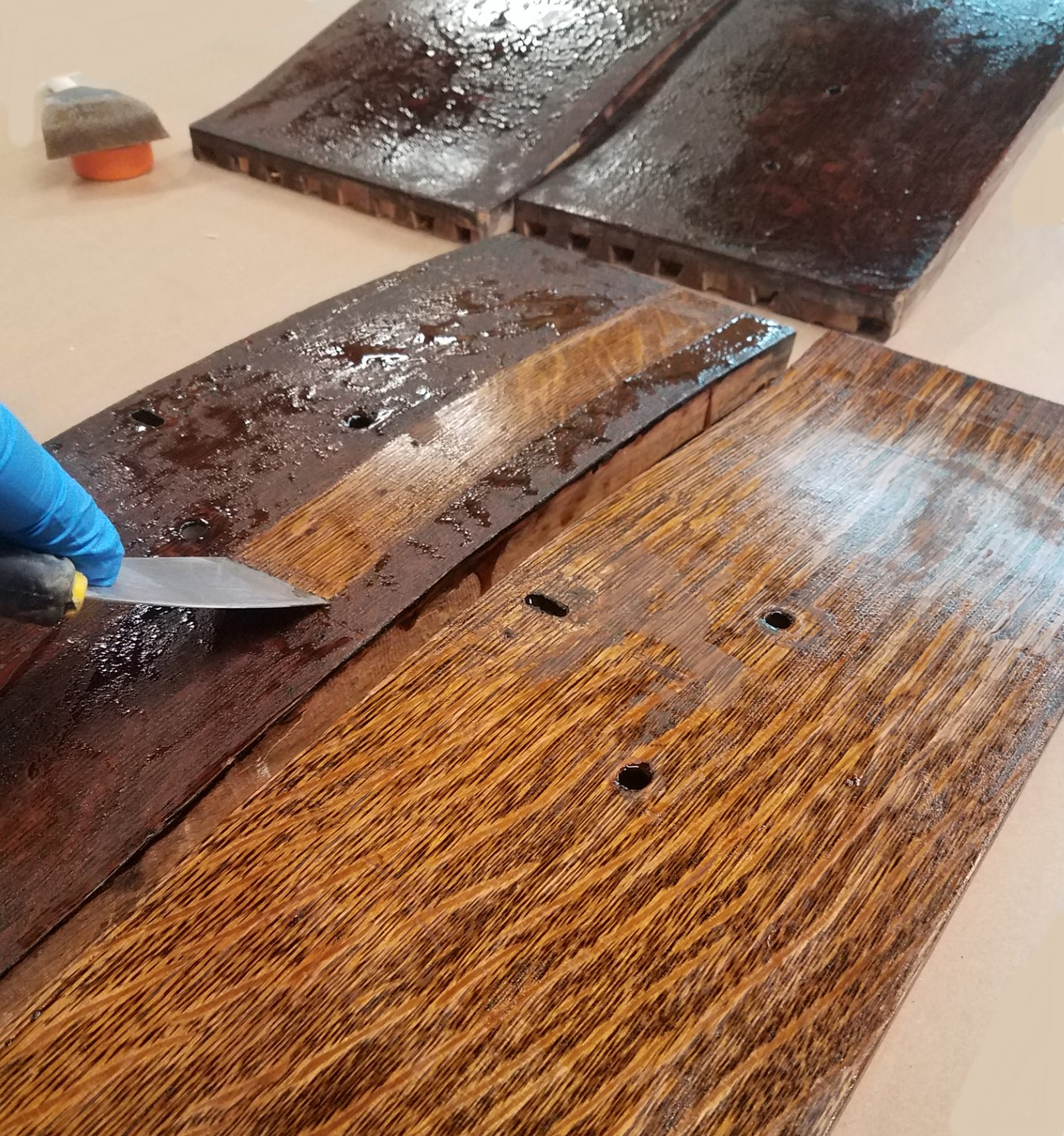 Stripping antique finish