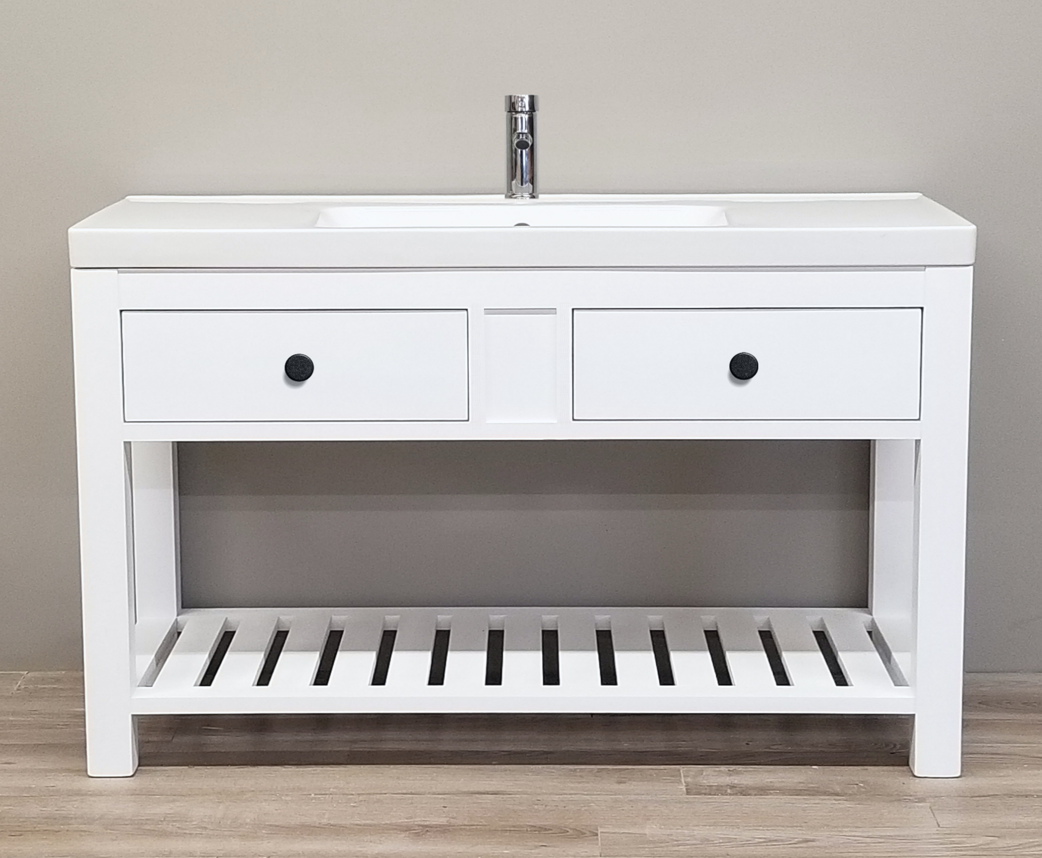 "48"" Modern Vanity with Slatted Shelf"