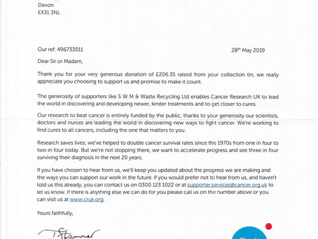 SWM raise £206.35 for Cancer Research UK