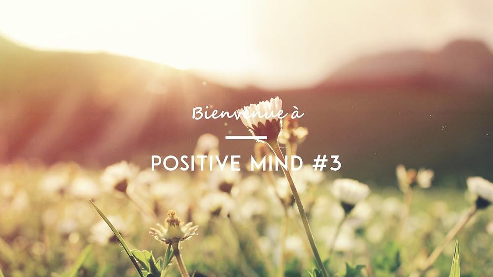 slide d'accueil de PositiveMind#3: rayon de soleil, champ de feur, focale fixe et zenitude