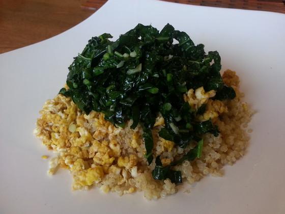 Curried Eggs, Quinoa + Kale