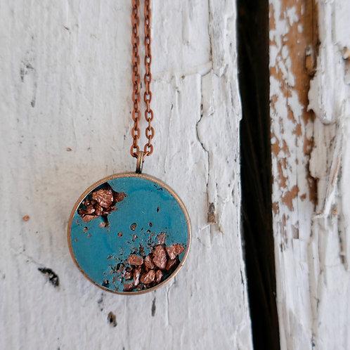 Halskette Manila - türkis/kupfer