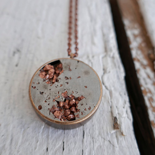 Halskette Manila - grau/kupfer