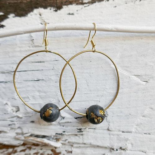Ohrring Wien - schwarz/gold