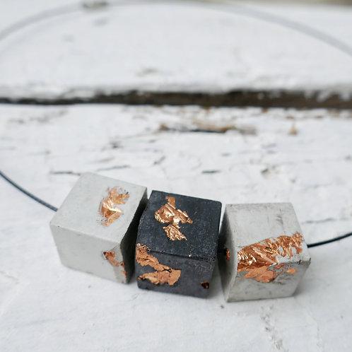 Halskette Bogota - schwarz/grau/kupfer
