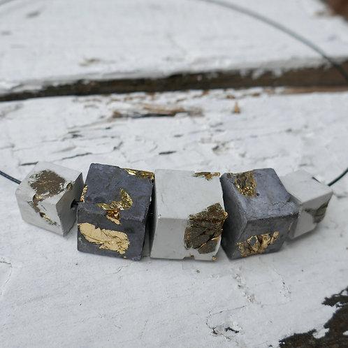 Halskette Bogota - weiß/schwarz/gold