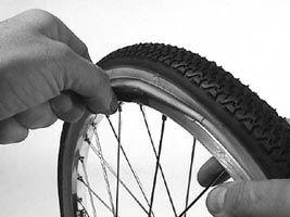 replacing pushchair tyre