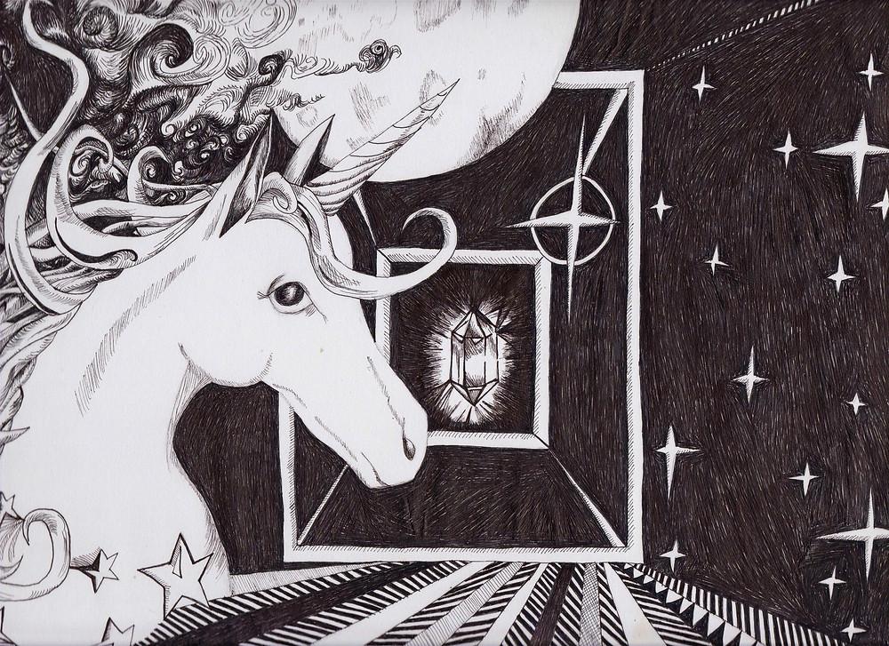#fantasyart #unicornillustration #crystalart #moonart