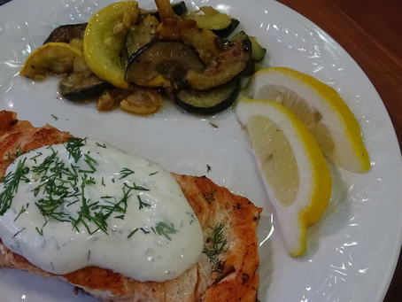 Salmon with Dill Sauce on the Blackstone Griddle