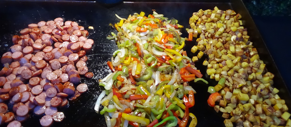 Sausage, Peppers and Potatoes on the Blackstone Griddle