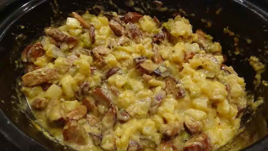 Cheesy Kielbasa Potato Casserole