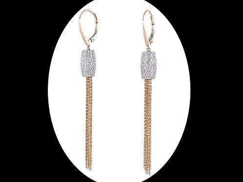 GOLD AND DIAMOND FRINGE EARRINGS