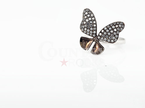 BLACK SAPPHIRE BUTTERFLY RING