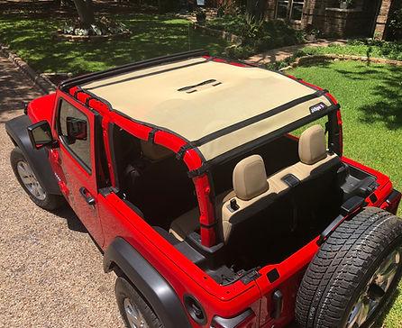 Jeep Wrangler JL 2 door sun shade shown in tan