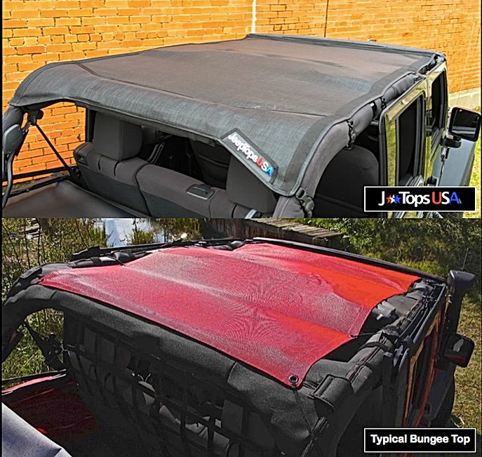 Jeep Wrangler JK bungee mesh sun shade comparison