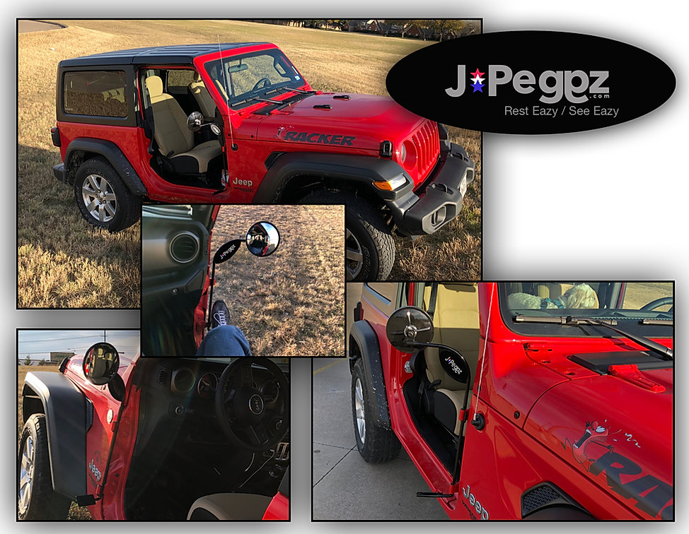 JPeggz Jeep Wrangler Foot Pegs with Mirrors
