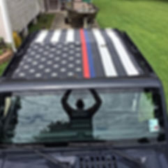 Jeep Wrangler blue red striped flag mesh sun shade top