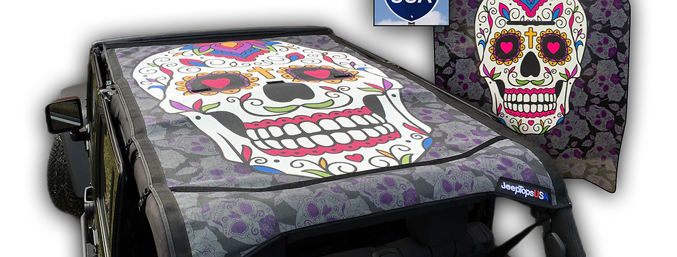 Jeep Wrangler Sugar Skull Sun Shade Top, Jeep sugar skull, Jeep top, JTopsUSA