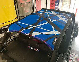 Jeep Wrangler custom mesh sun shade with LED