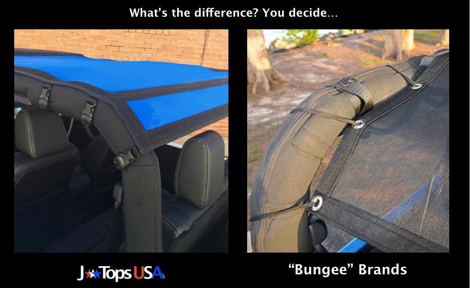 Jeep Wrangler bungee sun shade comparison
