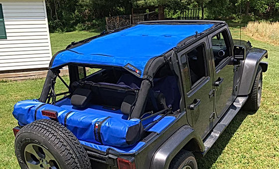Wrangler JK sun shade with tonneau and soft top boot