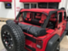 Jeep Wrangler red mesh sun shade top