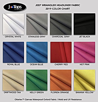 JEEP WRANGLER HARDTOP HEADLINER COLOR CHART