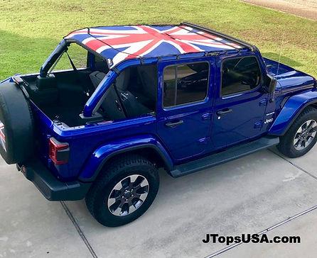 Custom Jeep Wrangler JL flag shade top