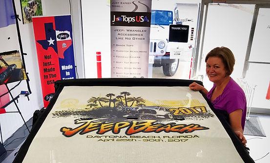 Custom jeep wrangler sun shade for Florida Jeep Beach show