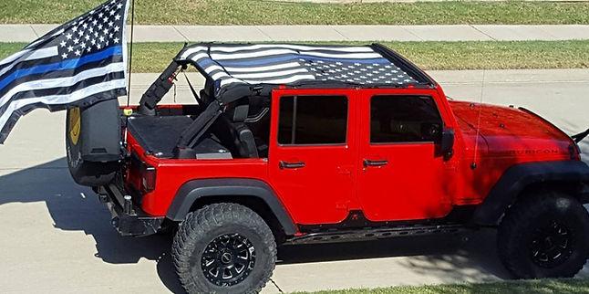 Jeep Wrangler JK Thin Blue Line sun shade