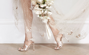 Try on lots of pairs of shoes, with the right size heel, in a style that you like, that co-ordinate with your wedding dress and that you feel comfortable in