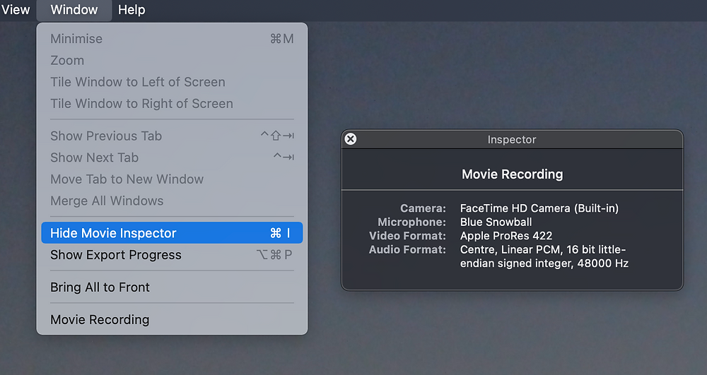 """To check what webcam and microphone you are using select """"Show Movie inspector"""" in the Window menu."""