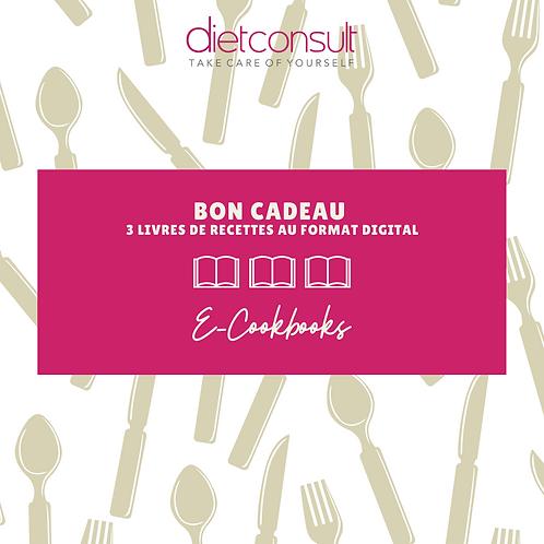 BON CADEAU POUR 3 E-COOKBOOKS