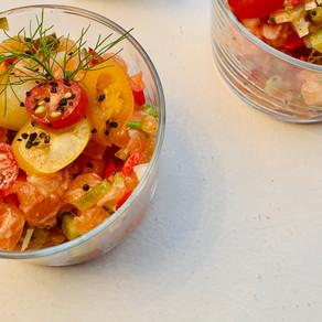 Tartare de saumon au fenouil et tomates cerises