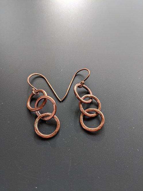 mini copper triple hoops