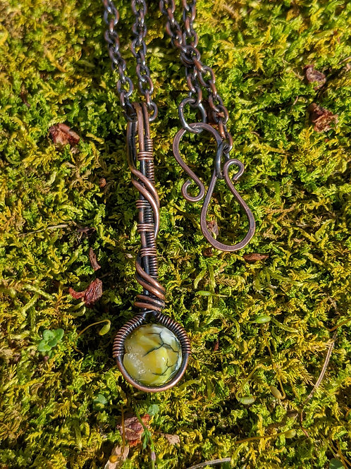 Copper wire-wrapped staff pendant: yellow-green dragon veined agate